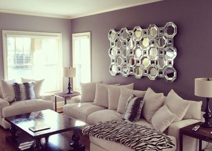 Living room wall  cor charms with mirrors purple sofapurple also rooms walls and