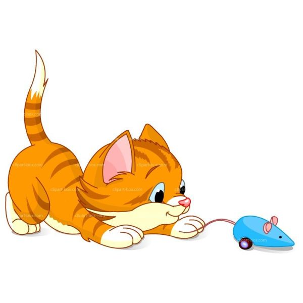Clipart Kitten Playing With Mouse Royalty Free Vector Design Clip Art - Kittens