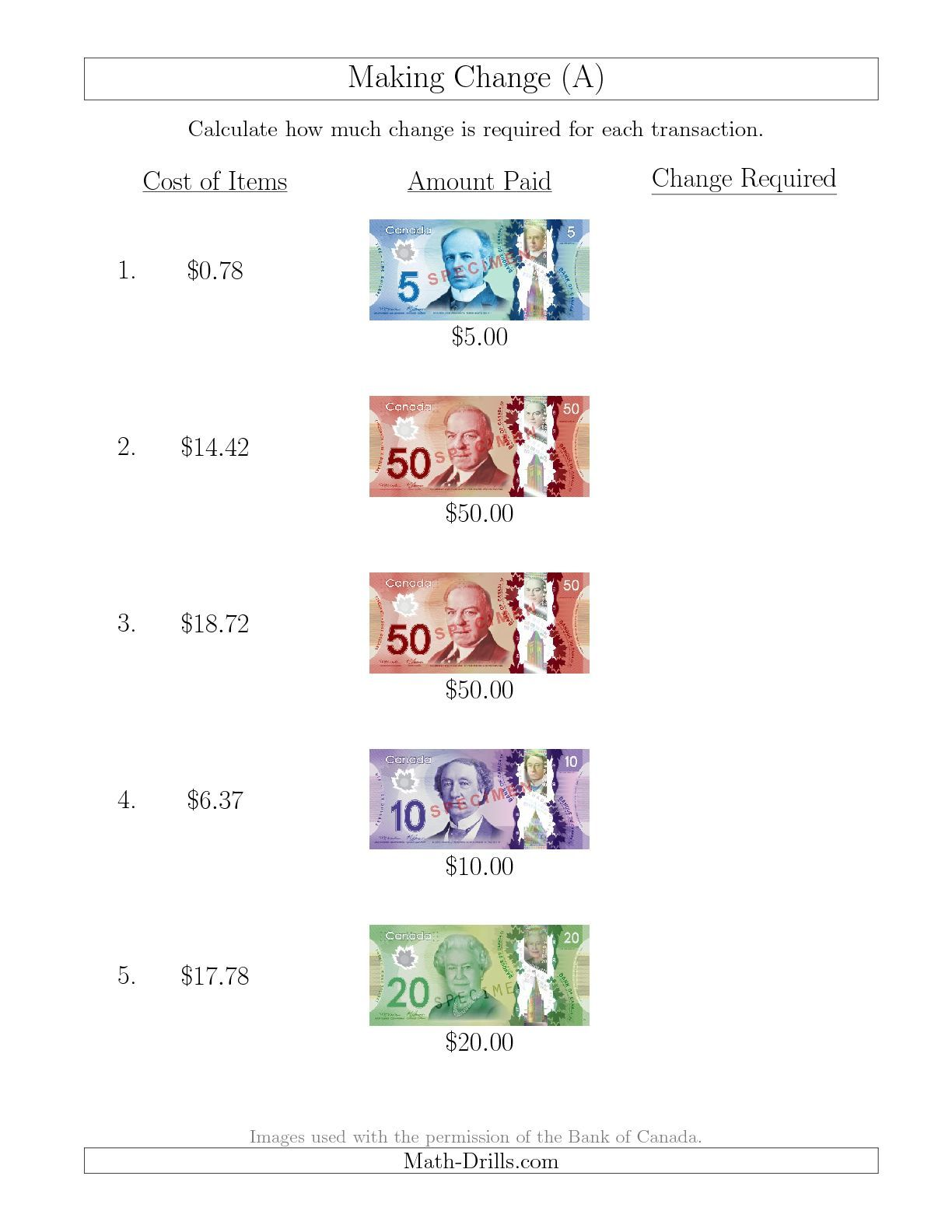 New 10 13 Making Change From Canadian Bills Up To 50 A Math Worksheet Freemath