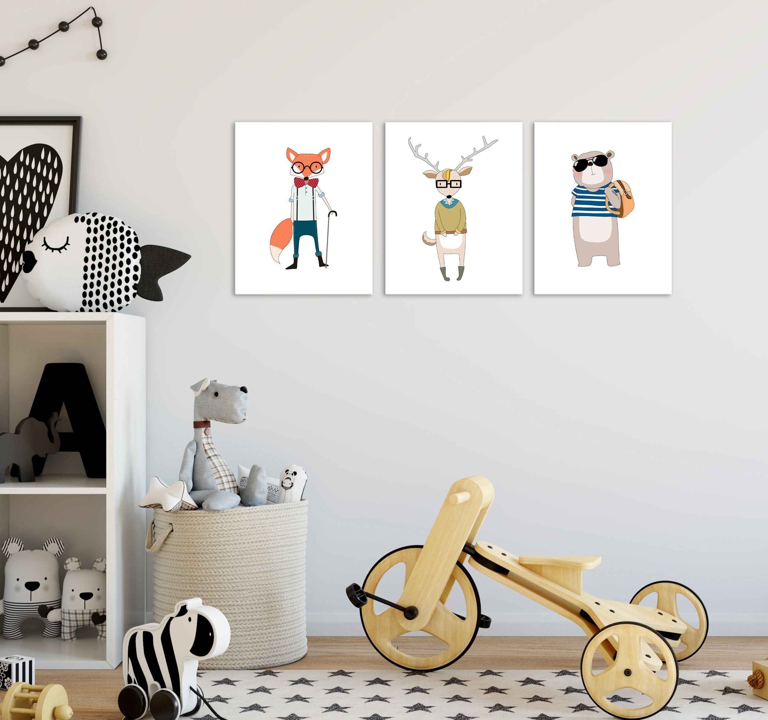 Hipster animal art prints decor set of these wall feature animals printed on premium matte paper subtle non reflective also rh pinterest
