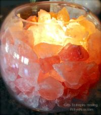 Himalayan Salt Lamp: Glass Bowl Lamp with Salt Crystals ...