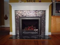 Glass Tiled High Efficiency Gas Log Fireplace with ...