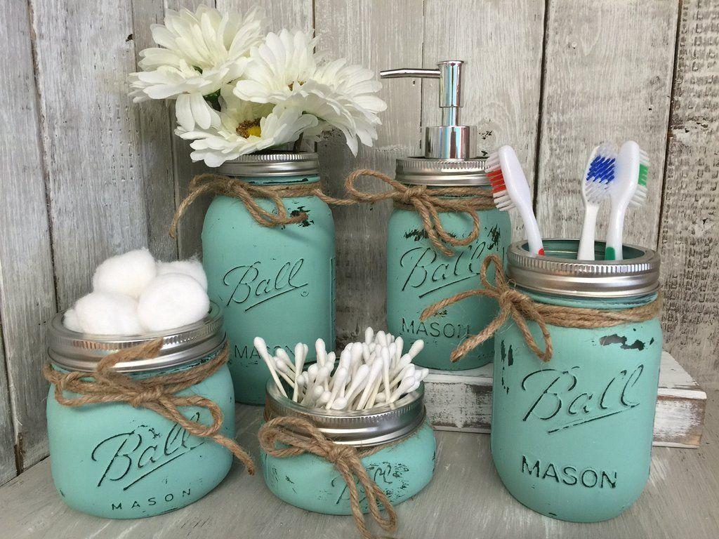 Mason Jar Bathroom Vanity Set  Set of 5 Jars  Seaglass