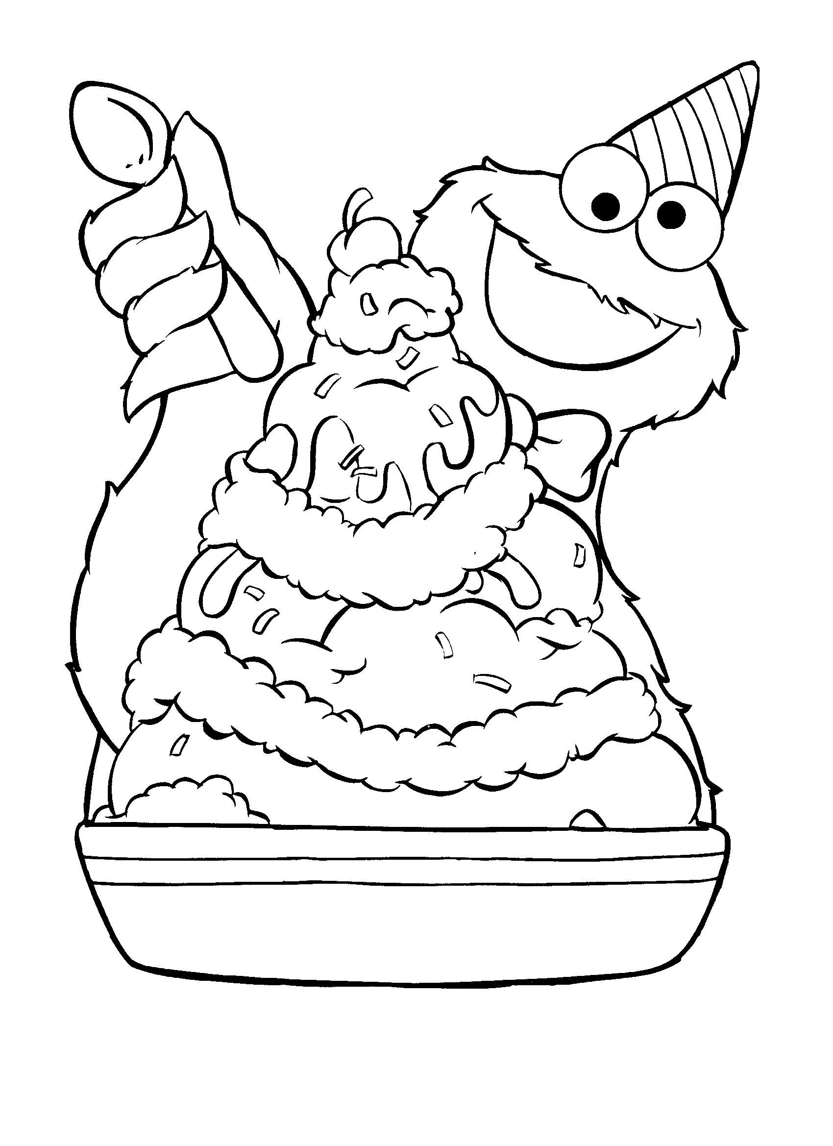 Cookie Monster / Ice Cream Sundae (Coloring Pages