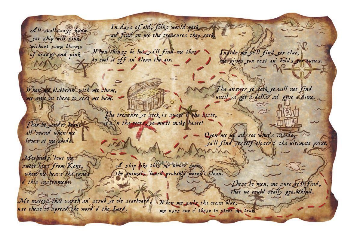 Printable Pirate Treasure Map Realistic