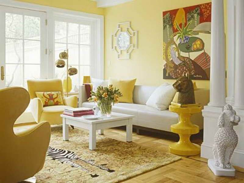 Bright Yellow Wallpaper Decoration for Living Room with