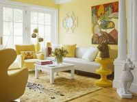 Bright Yellow Wallpaper Decoration for Living Room with ...