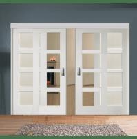 Sliding Room Divider with White Shaker Glazed & Solid