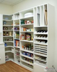 L-shaped pantry - one wall shelves, corner shelf, other ...