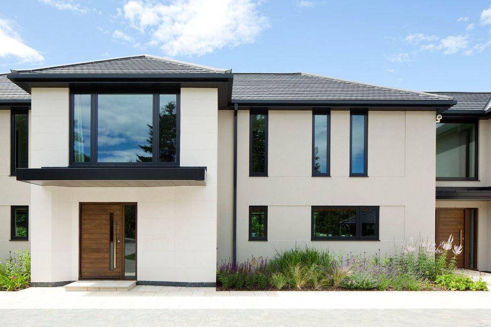 Black window trim exterior contemporary with oversized