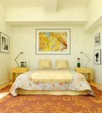 Cream Colored Bedroom With Orange Carpet Decor master ...
