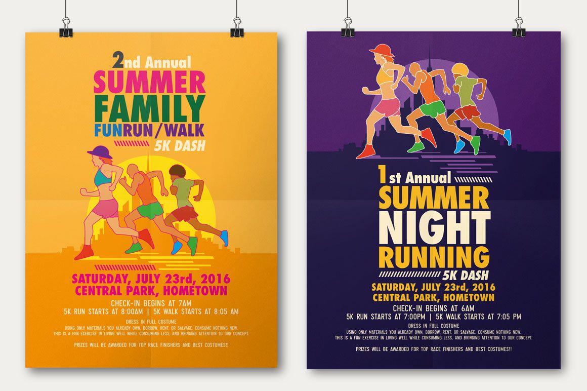 Summer Fun Run Flyer & Poster Template On Behance Poster
