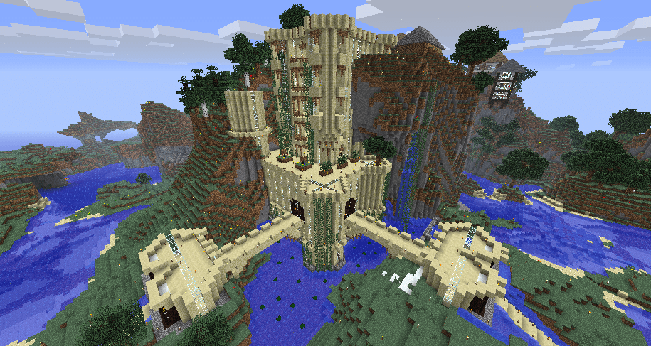 Castle On A Cliff In Minecraft Minecraft Pinterest
