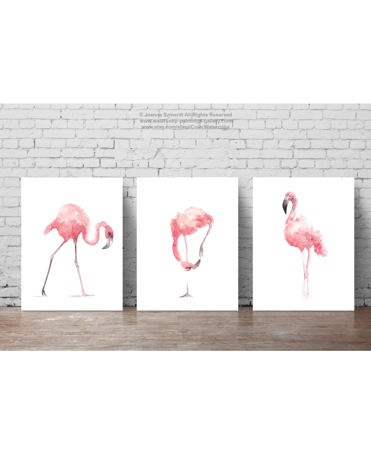 Pink flamingo set art prints flamingoes whimsical tropical artwork bird wall decor also rh pinterest