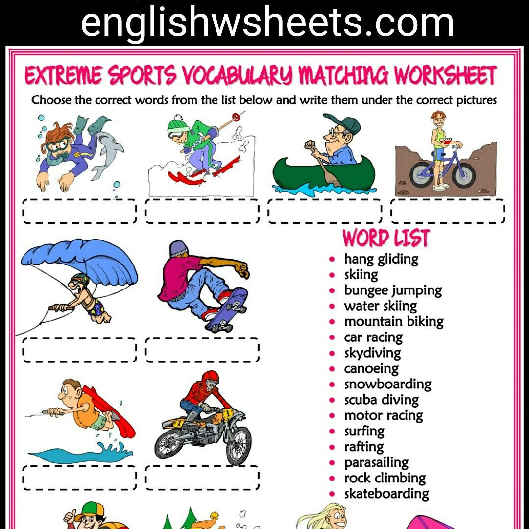Extreme Sports Esl Printable Vocabulary Matching Exercise
