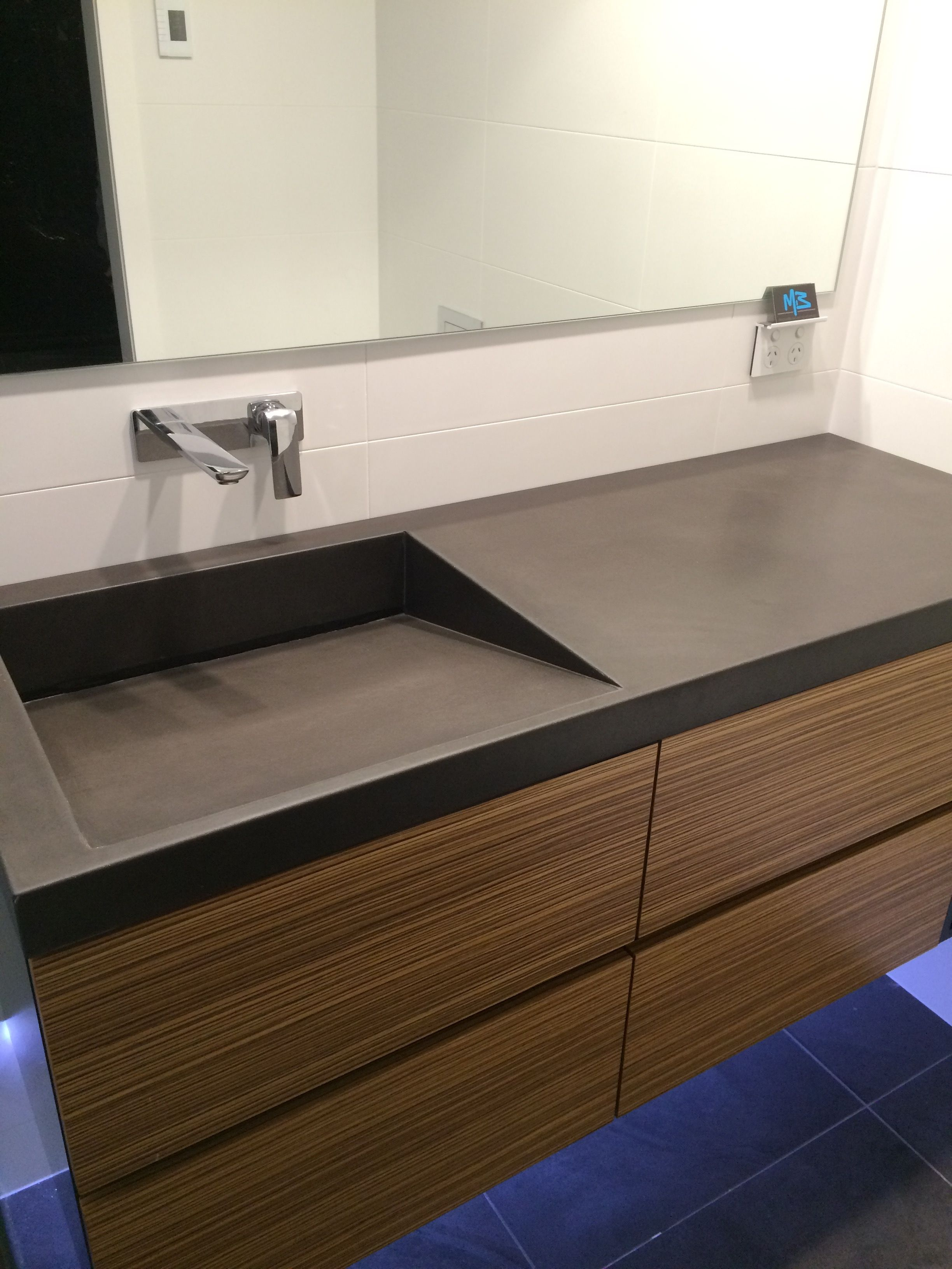 concrete kitchen sink windows over polished vanity top with integrated by