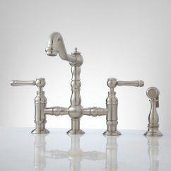 Kitchen Faucet With Handspray Cabinets Doors For Sale Delilah Deck Mount Bridge Side Spray Lever