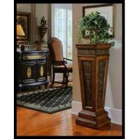 Pedestal-Accent-Table-Plant-Stand-Wood-Living-Room ...