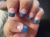 blue French Tip Nail Designs | Health & Beauty  Sparkly ...