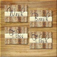 Leopard Bathroom Cheetah Print WORD Art Wall Decor WASH ...