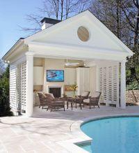 Buckhead pool and cabana with fireplace, Bahamian shutters ...