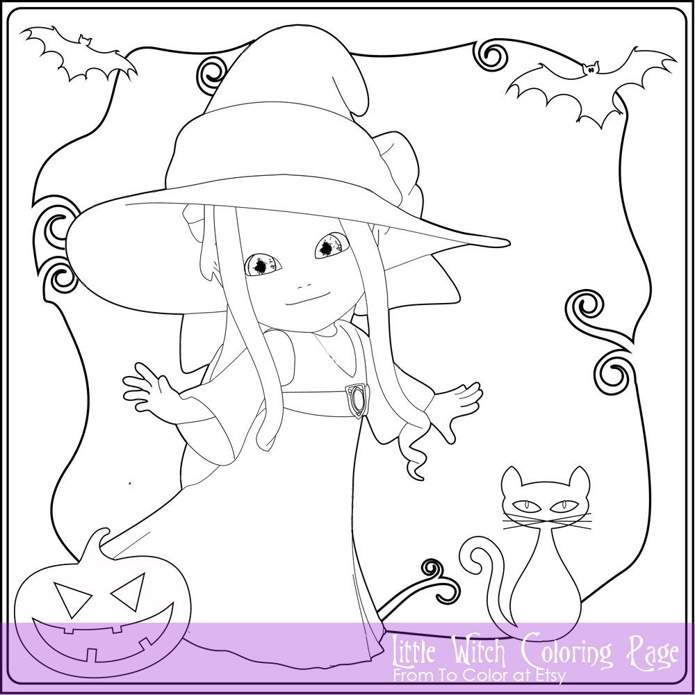 Little Witch Coloring Page For Adults Instant Download Coloring