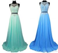Gradient Ombre Prom Dresses Sheer Beads Crew Light Pink ...