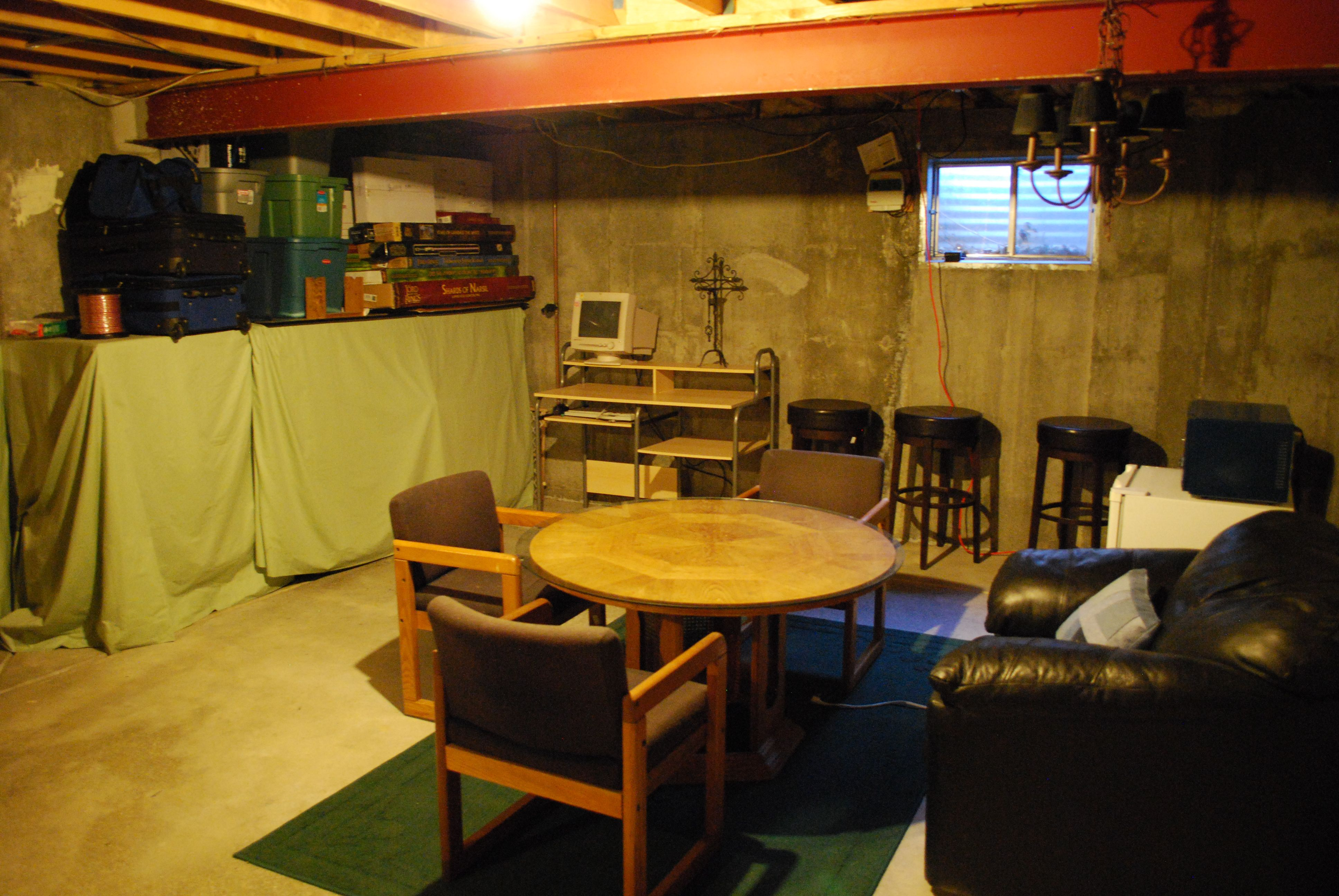 unfinished basement man cave