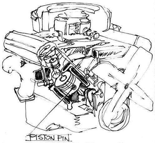 A rough sketch illustration of a V8 engine and where a