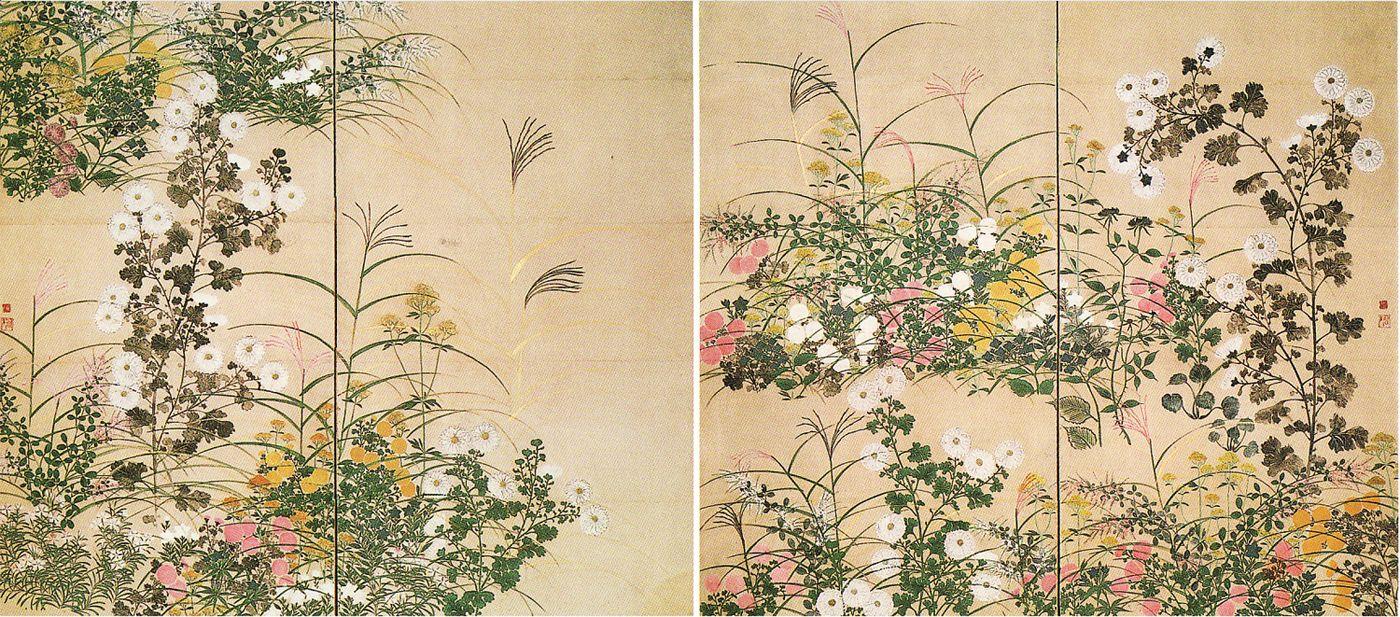 秋草図屏風,尾形光琳Ogata Korin,18th century,Japan | Japanese Art | Pinterest | 屏風,図,俵屋