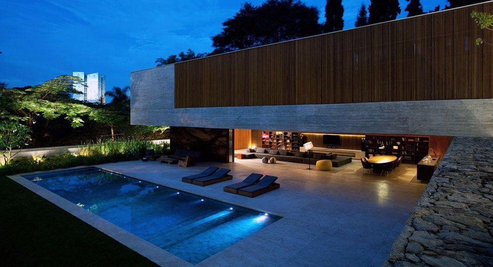 Amazing House Pool Lighting Night Ideas Houses Pinterest