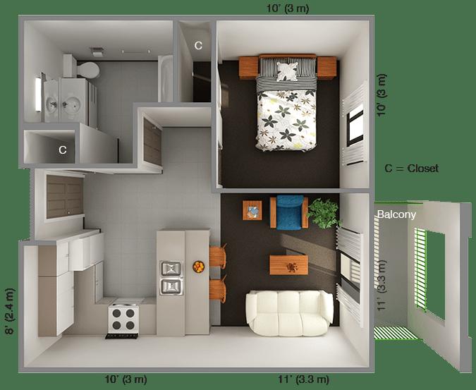 International House 1 Bedroom Floor Plan Top View Decorating