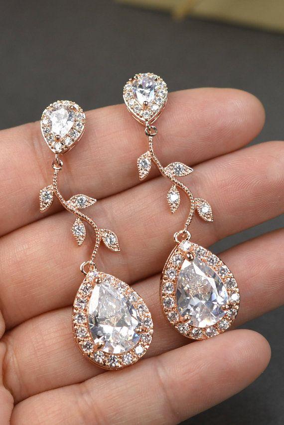 Rose Gold Crystal Bridal Earrings Wedding Jewelry Set Chandelier Dangle Drop Earring