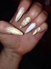 "white ""versace"" nails nail art"