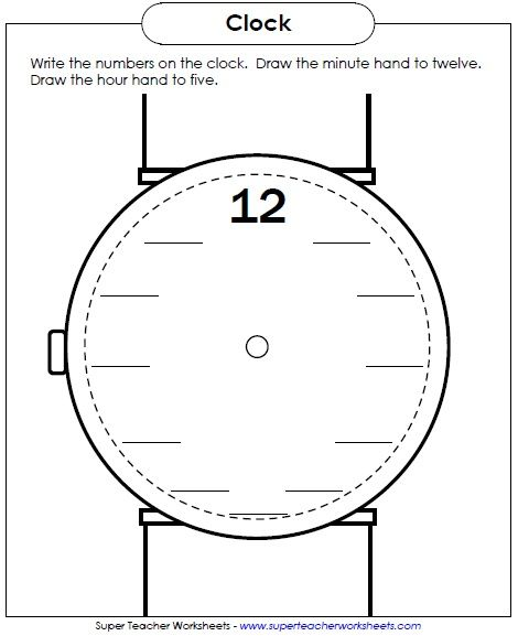 New Worksheet: Write the numbers on the clock face. Maybe