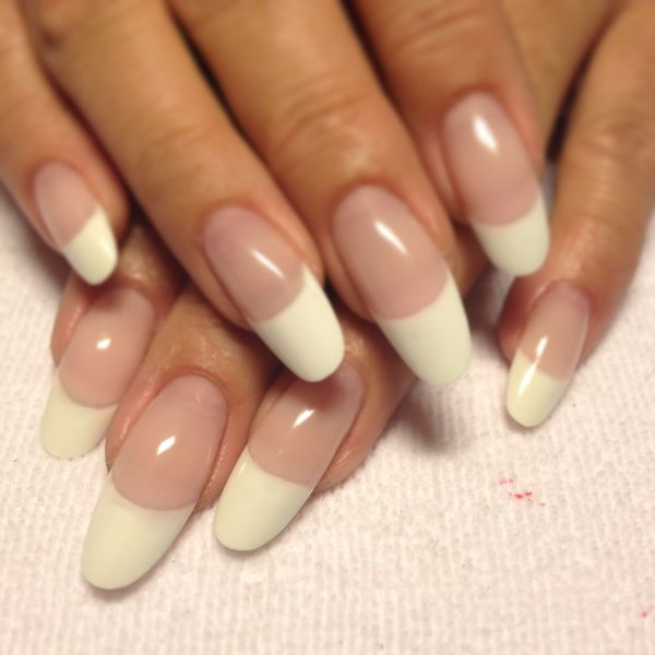 Cnd Shellac French Manicure Almond Shape Nails Imgurl