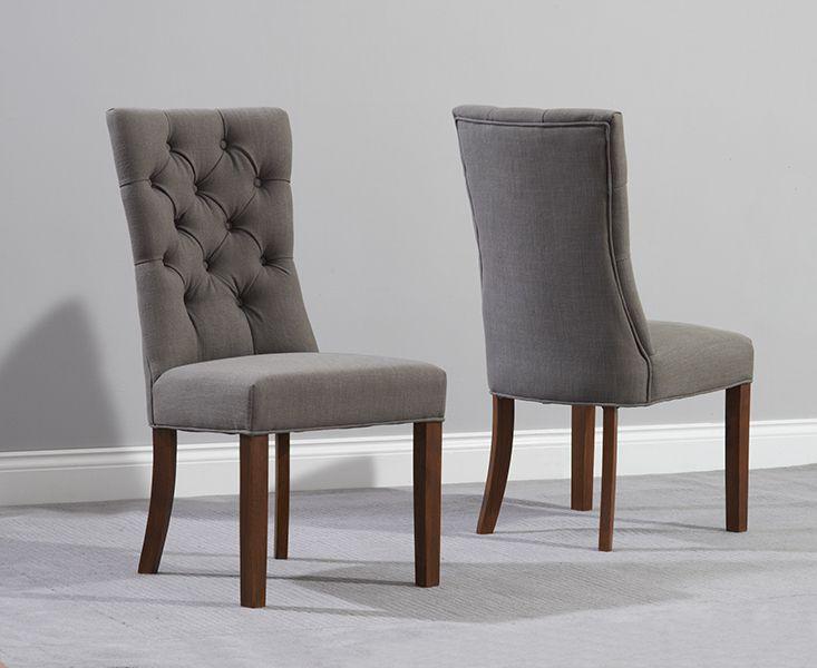 Anais Grey Fabric Dark Oak Leg Dining Chairs  Fantastic