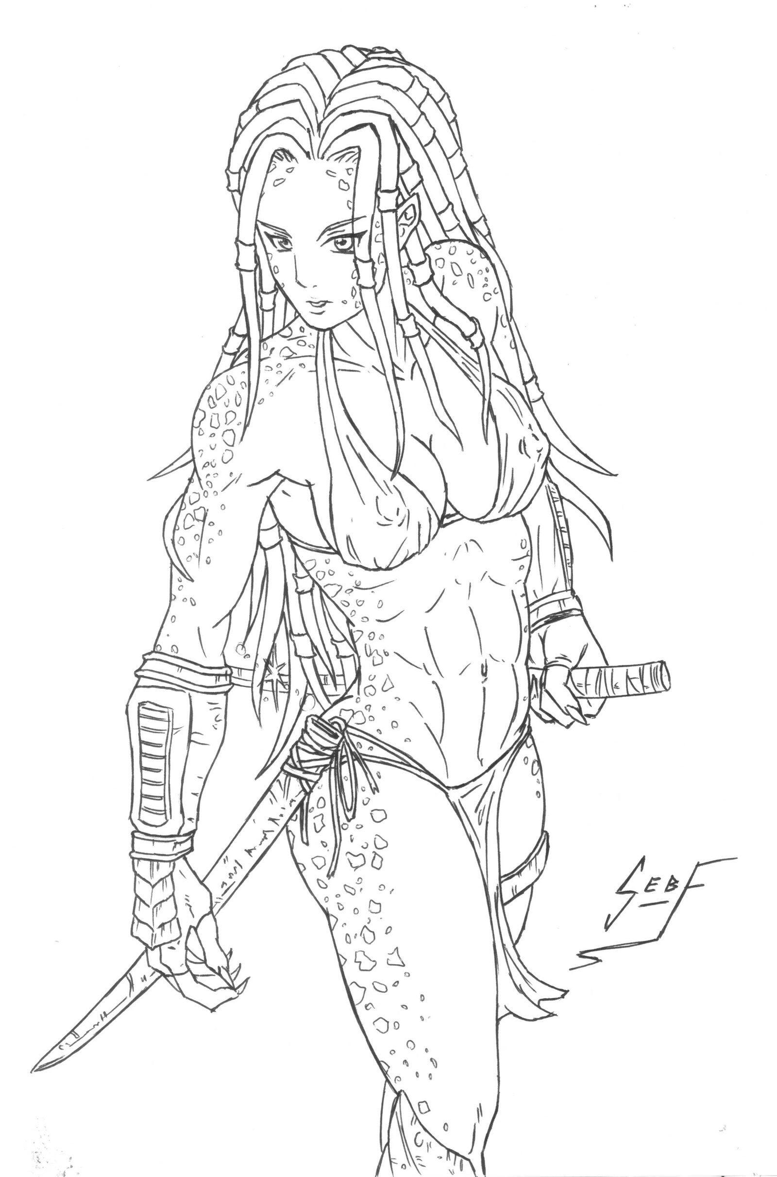 Female Predator Drawing