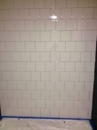 6x6 white tile backsplash and wall
