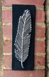 Feather String Art - wood, nails, metallic string, paint ...