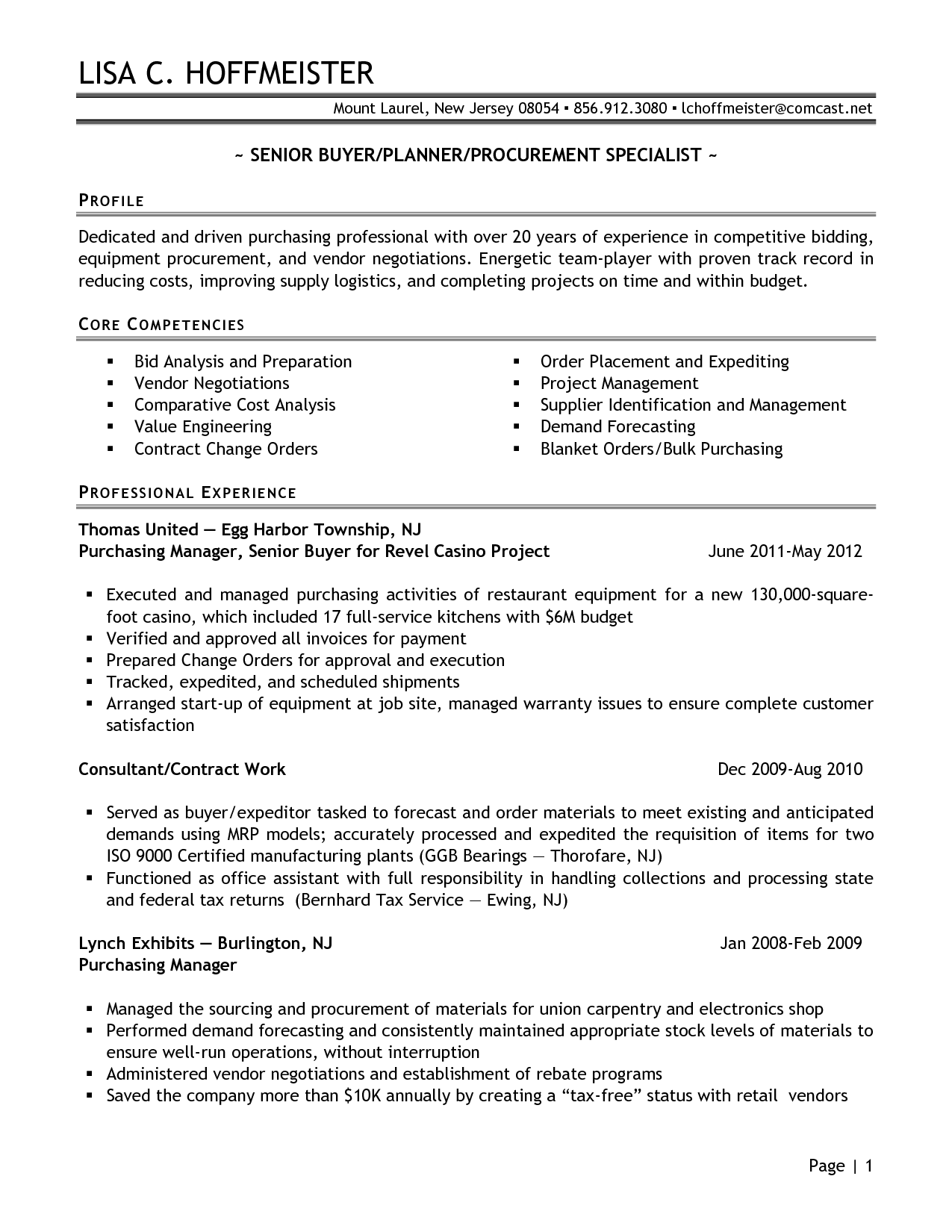 Senior Logistic Management Resume Senior Buyer Purchasing