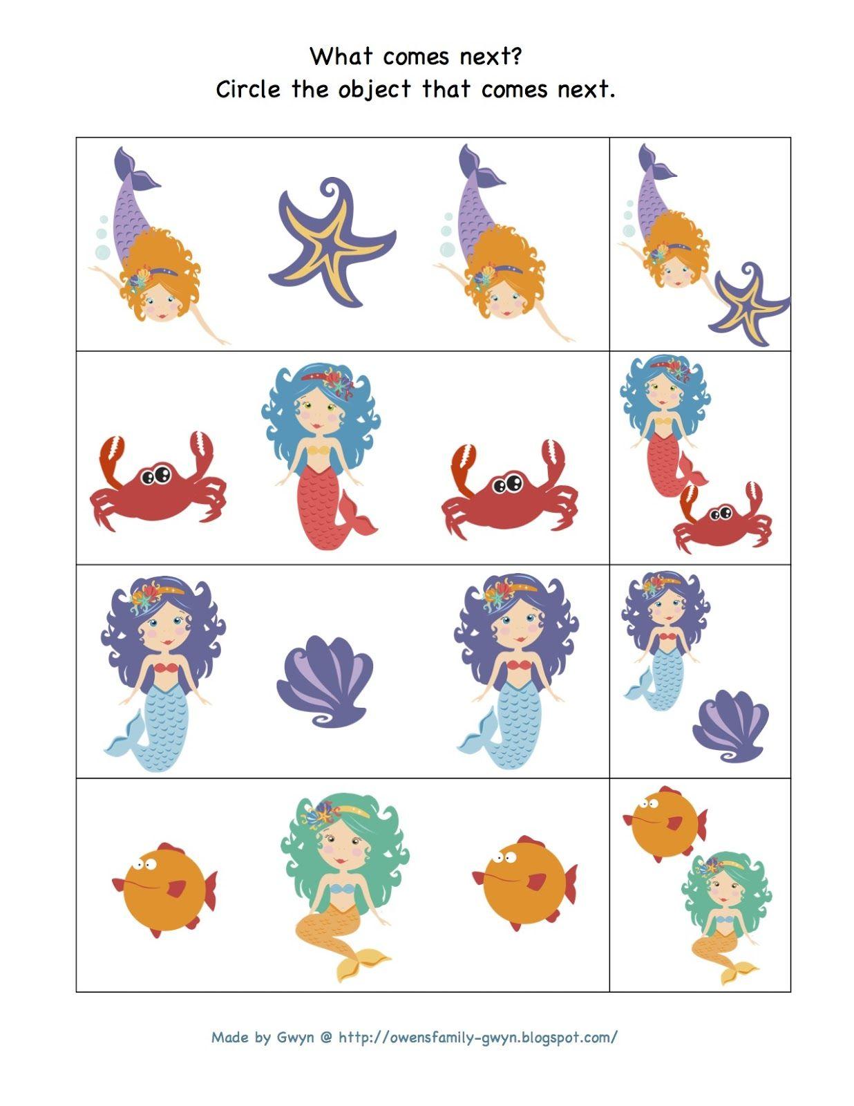 Preschool Printables Mermaid Printable