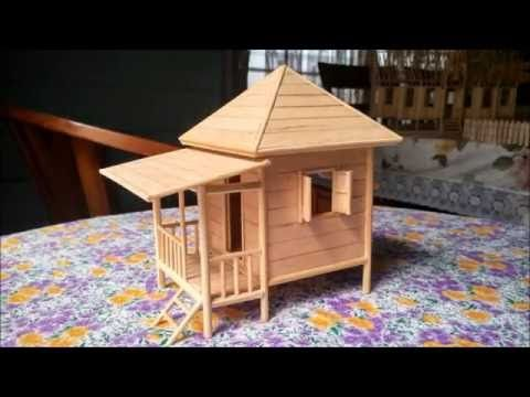 Popsicle Stick Miniature House Beach House Custom Made