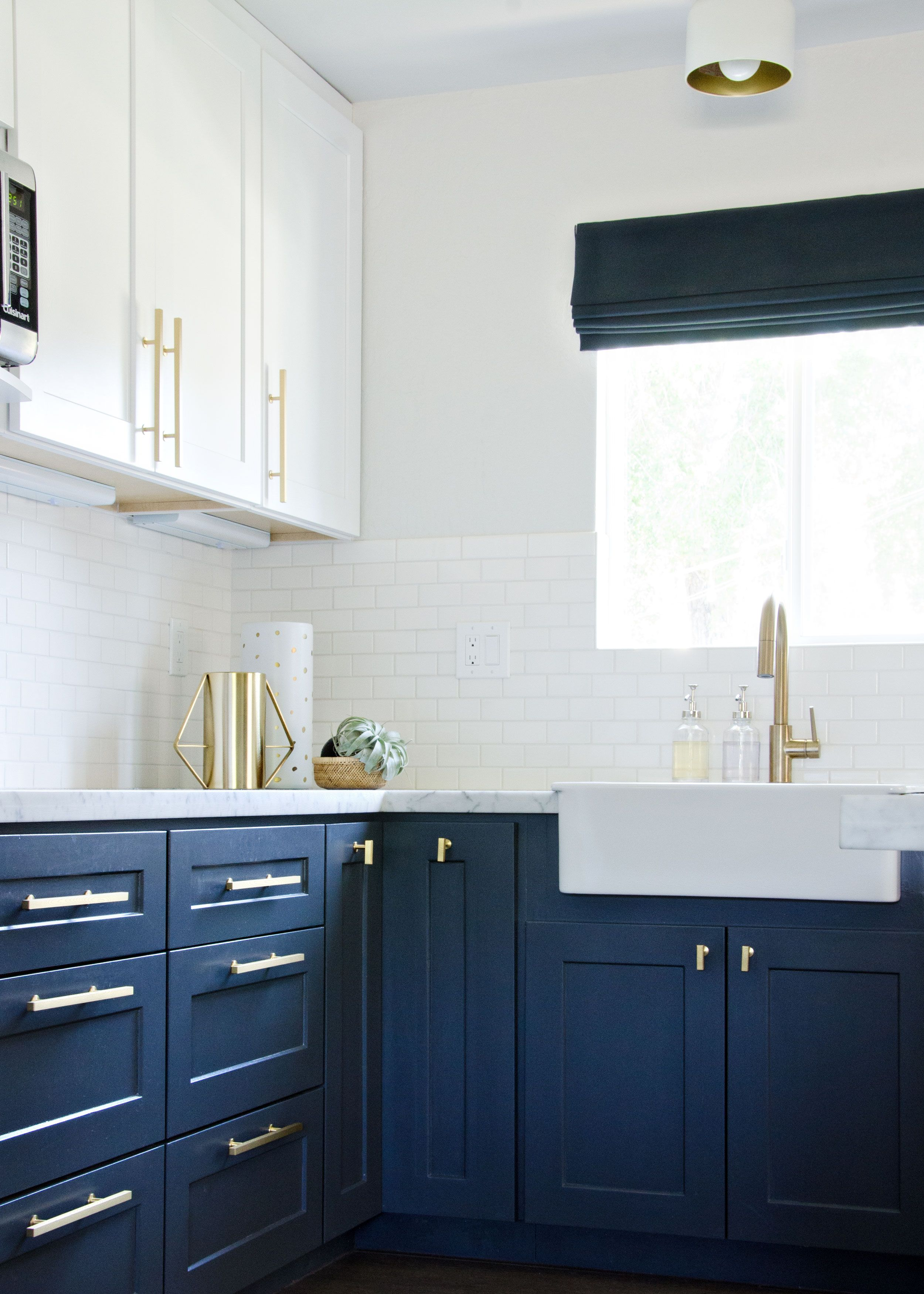 blue kitchen cabinet knobs premade islands navy with gold accents brittanymakes gorgeous