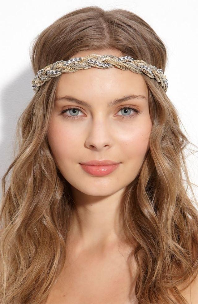 Romantische Haarband Frisuren Glitzerndes Accessoires Kettenband