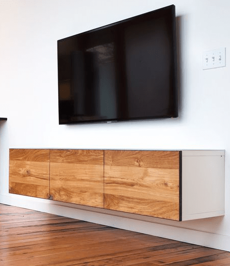 Floating Media Cabinet By Semi Handmade Doors Stained