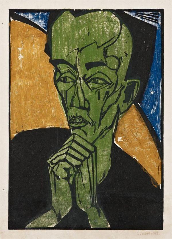 Erich Heckel Nnerbildnis Portrait Of Man 1919