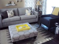 Living Room...beige/khaki walls, grey & blue furniture ...