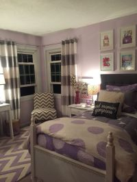 Lavender and grey teen bedroom