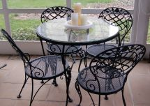 Woodard Chantilly Rose Bistro Table 4 Chairs Wrought